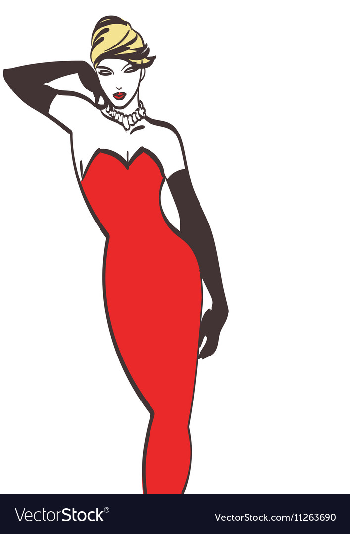 Lady in red cartoon