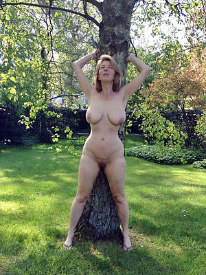 Mature naked outdoors